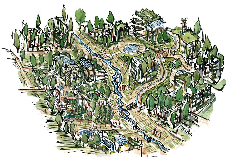 Grøn økologisk bydesign af Frits Ahlefeldt