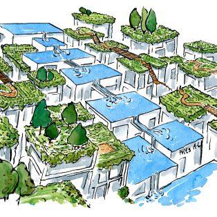 Blå-grøn arkitektur med rindende vand