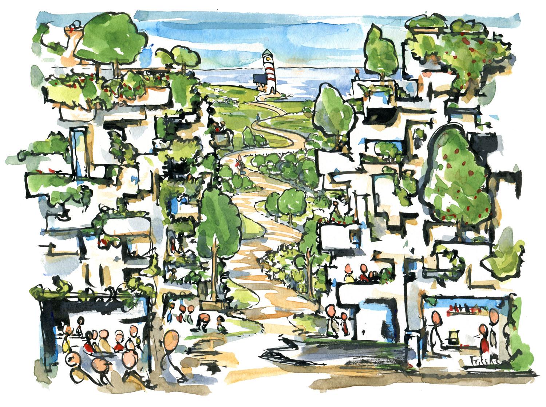 Tegning af grøn by og stier mellem by og land