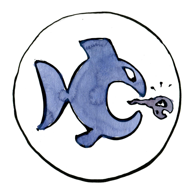 tegning af fisk der spiser en frø