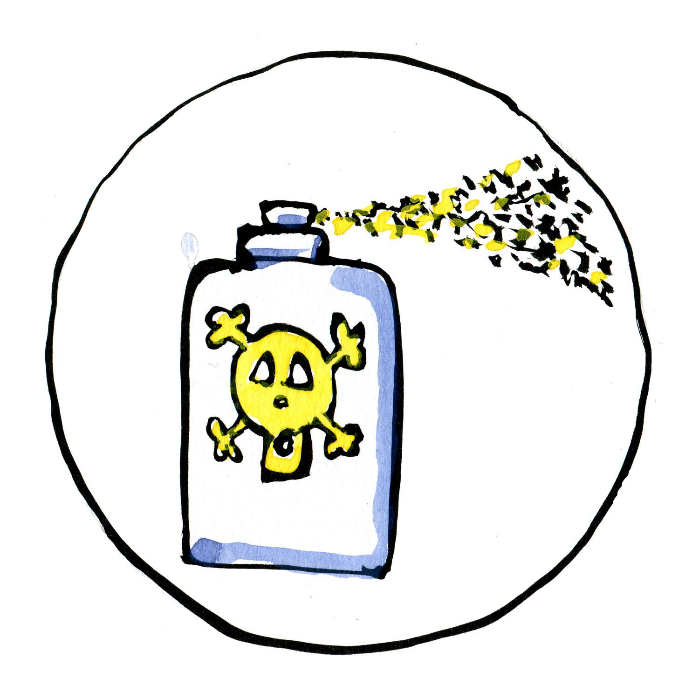 Tegning af giftflaske