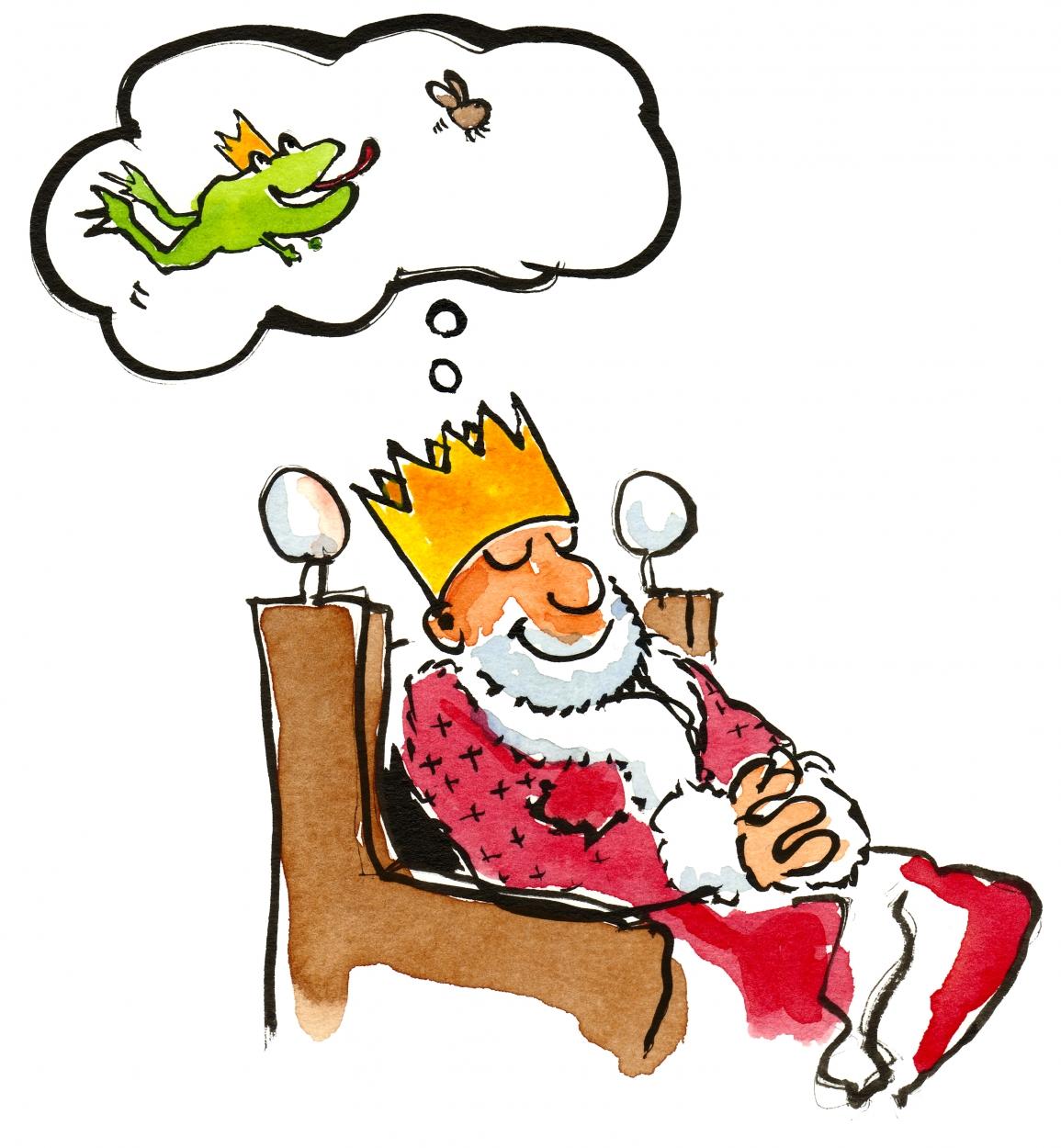 Tegning: Konge som drømmer tilbage til inden han kyssede princessen og han var en ubekymret frø