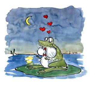 frø som synger hjerter ud i natten tegning af frits ahlefeldt