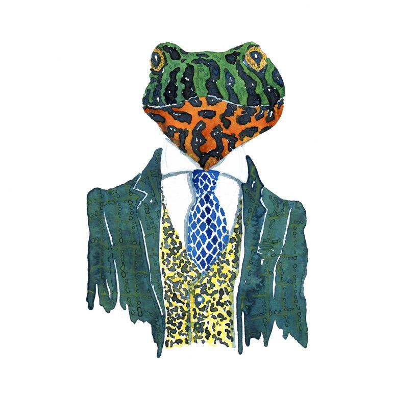 akvarel af frø i jakkesæt. Illustration af Frits Ahlefeldt